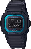 G Shock Casio G-Shock 35th Anniversary Bluetooth Connected Black And Blue Detail Digital Dial Black Silicone Strap Mens Watch