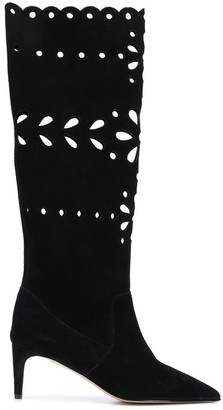 RED Valentino Floral Laser-Cut Boots