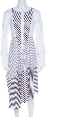 Carven White Multi Striped Cotton Paneled Asymmetric Hem Midi Dress L