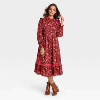 Universal Thread Women's Plus Size Floral Print Balloon Long Sleeve Ruffle Dress - Universal ThreadTM