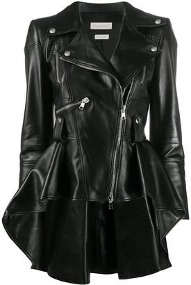 Alexander McQueen Flared Leather Biker Jacket