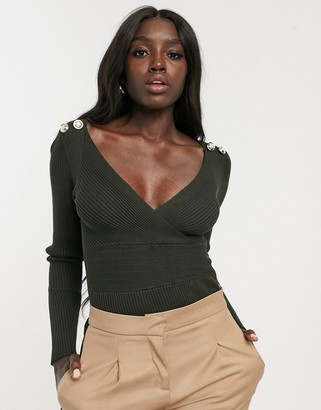 Morgan long sleeve wrap front slim rib knitted top with button shoulder detail in khaki-Green
