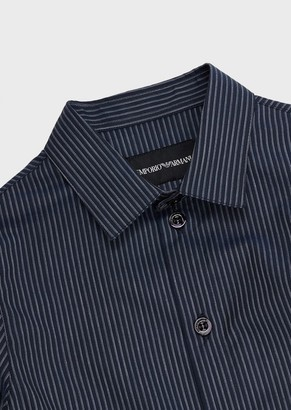 Emporio Armani Striped Shirt With Embroidered Eagle