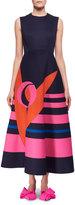 DELPOZO Sleeveless Decoupage Midi Dress, Blue