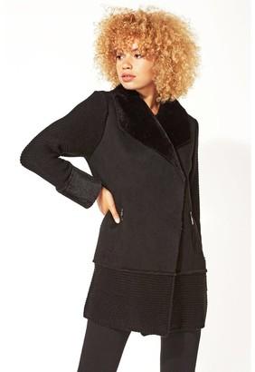 M&Co Roman Originals knit faux shearling coatigan
