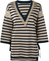 Alberta Ferretti striped v-neck jumper - women - Cotton/Polyamide/Rayon/other fibers - 40