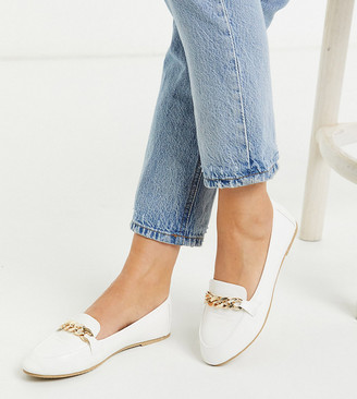 Raid Wide Fit Liviah chain trimmed loafers in white