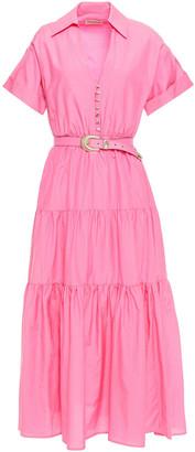 Nicholas Amina Tiered Belted Cotton And Silk-blend Poplin Midi Dress