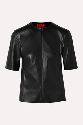Commission - Gathered Faux Leather Top - Black