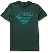 Giorgio Armani Slim-Fit Flocked Eagle Crew Neck Short-Sleeve Graphic Tee