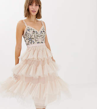 Needle & Thread embroidered tiered tulle midi dress in rose-Pink