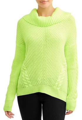 No Boundaries Juniors' Cowl Neck Cable Sweater