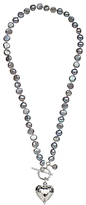 Claudia Bradby Pearl Sterling Silver Heart Charm Necklace, Purple