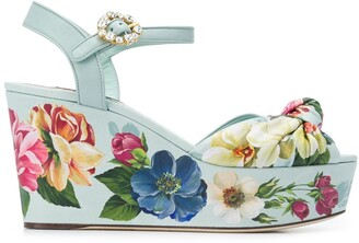 Dolce & Gabbana Floral-Print Wedge Sandals