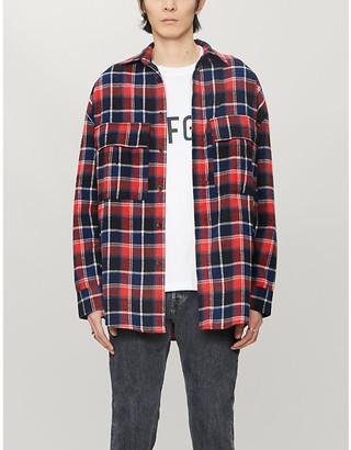 Fear Of God Mandarin-collar checked cotton-twill shirt