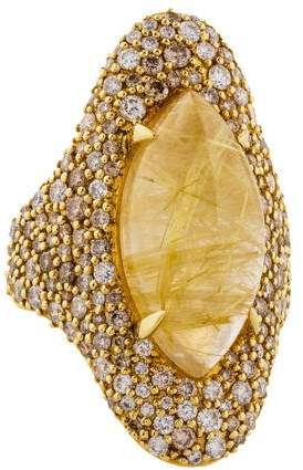 Alexis Bittar 18K Rutilated Quartz & Diamond Cocktail Ring