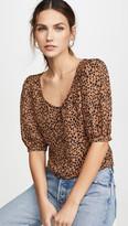 BB Dakota Cheetah Print Puff Sleeve Top