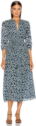 Saloni Remi C Dress in Navy Aspen | FWRD