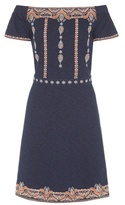 Tory Burch Nell Embroidered Cotton Off-the-shoulder Dress