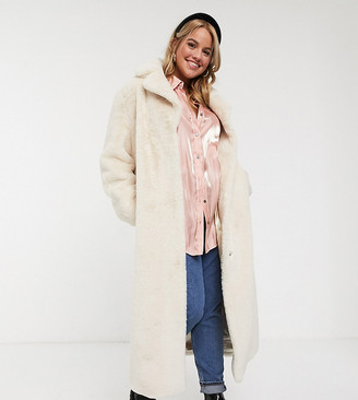 Asos DESIGN Curve plush faux fur longline maxi with belt in cream