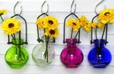 Romantic Decor & More Colored Glass Hanging Flower Wall Vases G77 - Lot of 4 ~ Colored Glass Bottle ~ Floral Vase ~ Colored Vase