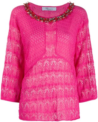 Blumarine Embellished Decorative Knit Blouse