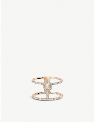 Messika Glam'Azone 2 Rows 18ct pink-gold and pave diamond ring