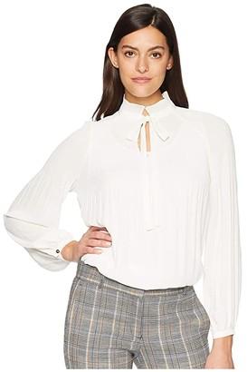 Lauren Ralph Lauren Georgette Tie-Neck Top (Hedge Green) Women's Clothing