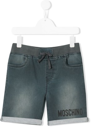 MOSCHINO BAMBINO Stonewashed Denim Shorts