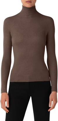 Akris Cashmere & Silk Rib Turtleneck