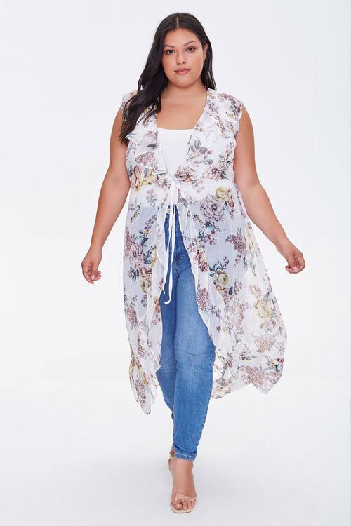 Forever 21 Plus Size Sheer Ruffled Floral Kimono