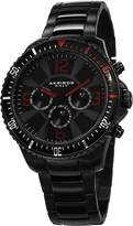 Akribos XXIV Men's AK694BK Ultimate Swiss Quartz Multifunction Red Accented Stainless Steel Bracelet Watch