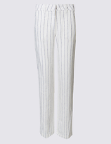 M&S Collection Pure Linen Striped Wide Leg Trousers