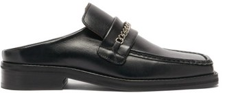 Martine Rose Curb-chain Square-toe Leather Backless Loafer - Black