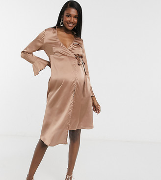 Outrageous Fortune Maternity tie detail blazer dress with fluted sleeve detail in taupe