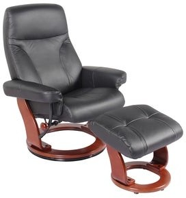 Hazel Almond Leather Recliner and Ottoman