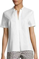 Peserico Split Neck Poplin Blouse