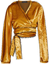 Sid Neigum - Cropped Crushed-velvet Wrap Jacket - Gold