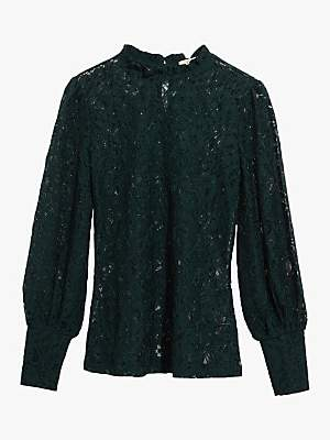 Oasis Lace Sheer Blouse Top, Deep Green
