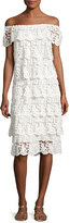 Miguelina Angelica Off-the-Shoulder Tiered Lace Dress, White