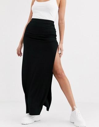 Asos DESIGN double split thigh maxi skirt