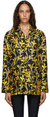 Versace Underwear Black and Gold Silk Barocco Shirt