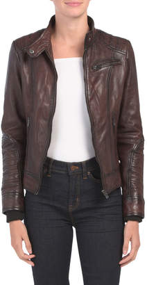 Leather Removable Hood Jacket