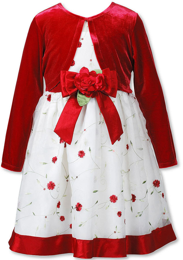 Sweet Heart Rose Girls Set, Little Girls 2-Piece Shrug and Embroidered Dress