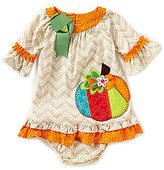 Rare Editions Baby Girls 12-24 Months Thanksgiving Pumpkin Chevron A-Line Dress