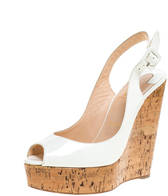 Christian Louboutin White Patent Leather Une Plume Cork Wedge Platform Peep Toe Slingback Sandals Size 39