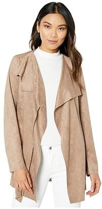 KUT from the Kloth Bernette Long Faux Suede Drape Jacket (Mocha) Women's Clothing