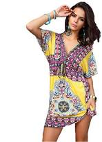 Royalgoods Womens Vintage Tunic V-neck Dress Beach Cover-up Vintage Print Loose Party Mini Dress