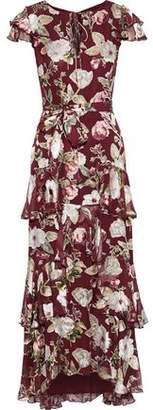 Alice + Olivia Jenny Tiered Floral-print Fil Coupe Chiffon Maxi Dress