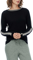Brora Intarsia Stripe Merino Cashmere Jumper, Black